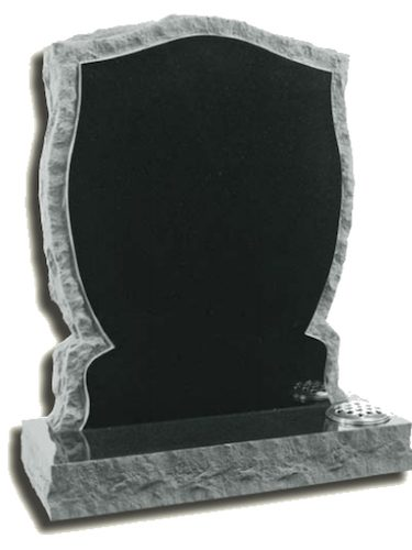 Black headstone with grey edge and silver flower holder